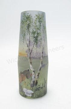 Handel Teroma Gl Vase Of Tapering Cylindrical Form Signed By Artist Bailey