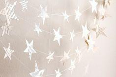 stars garland, christmas garland, birthday party decoration, winter home decor, book paper winter holiday decoration, handmade