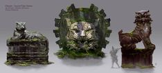 Chosain Ancient Tiger Statues concept art from the video game Age of Conan: Unchained by Torstein Nordstrand Sculptures