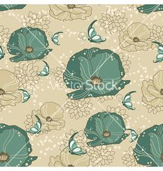 Seamless floral background vector on VectorStock®