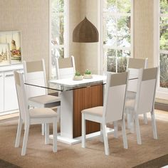 Conjunto Sala de Jantar Mesa e 6 Cadeiras Atlanta Madesa Branco/Pérola/Crema/Capri