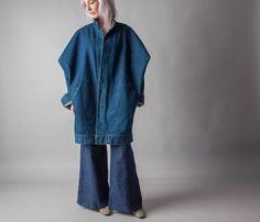 djemba oversized denim batwing coat / long by persephonevintage