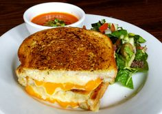 OMGoodness! Grilled cheese with smoked cheddar, provolone and american, grilled with garlic herb butter! Gotta make this weekend with some vegetable soup. YUM!