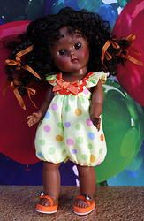 "**GuMDRoPS** a cute romper in dot fabric for Vogue Ginny, Muffie, Cosmo Ginger, or Madame Alexander 7.5""DoLLs. ONE SET LEFT at www.karmelapples.com Click the picture. Matching yummy orange flip-flops sold separately."