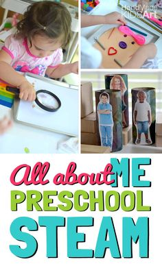 """Combine STEAM activities for preschoolers with your """"All About Me"""" learning theme. Explore what makes you unique and develop creative and critical thinking. All About Me Activities For Preschoolers, All About Me Preschool Theme, 4 Year Old Activities, Preschool Names, Steam Activities, Preschool Classroom, Science Activities, Classroom Activities, Preschool Activities"""