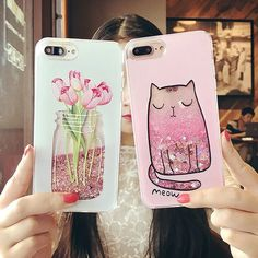 Cartoon Cat Flower Perfume Bottle Quicksand Dynamic Liquid Glitter Phone Case For iPhone 6 6s Plus Cases For Iphone 7 plus Case #iphone6spluscase,