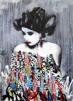 Japanese Geisha (Japanese female professional entertainer ) Street Art by Hush An English Street Artist.