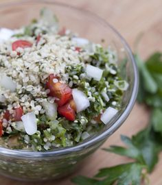 raw tabouli salad with hempseeds