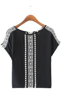 Specifications: Decoration:Embroidery Clothing Length:Regular Sleeve Style:Regular Pattern Type:Geometric Style:Fashion Fabric Type:Broadcloth Material:Cotton,Polyester Collar:O-Neck Sleeve Length:Sho