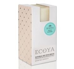 Natural waxUp to 30 hours burn timeWhen melted, permeates throughout the homePresented in an Ecoya gift boxHand crafted in AustraliaSet Soy Melts - / x Soy Wax Melts, Elderflower, Lemon Grass, Coconut, Packing, Range, Gifts, Lotus Flower, Jasmine
