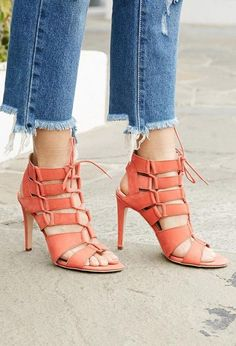 Date night calls for a pair of lace-up stilettos.