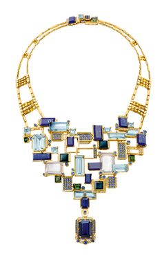 Chow Tai Fook, Halcyon bracelet, rectangular crystal slices, aquamarines, lapis lazuli, sapphires and yellow diamond cubes are set in 18K yellow gold.