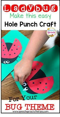 Glue wiggle eyes above hole-punched red ladybug wings to this easy preschool ladybug craft adorable, Simple and easy  ideas for spring speech therapy  bu theme. Read the post for ladybug storybook ideas and a ladybug song too. www.speechsproutstherapy.com #speechtherapy #preschool #speechsprouts