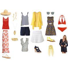 """20-piece Beach Travel Wardrobe"" by angelarcher5 on Polyvore"