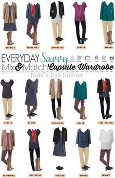 Here is a Kohl's Capsule Wardrobe for Fall. It includes bright jewel tones and fun floral leggings. These pieces mix and match for 15 great outfits that will have you looking great this fall. Not all for me but good enough to pin. Capsule Outfits, Fall Capsule Wardrobe, Fashion Capsule, Fashion Outfits, Fashion Hacks, Punk Fashion, Grunge Fashion, Fashion Ideas, Fashion Tips