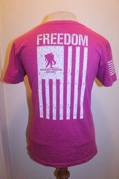 Under Armour Top S Pink  Wounded Warrior Project Freedom Flag Troops T-Shirt  #UnderArmour #GraphicTee