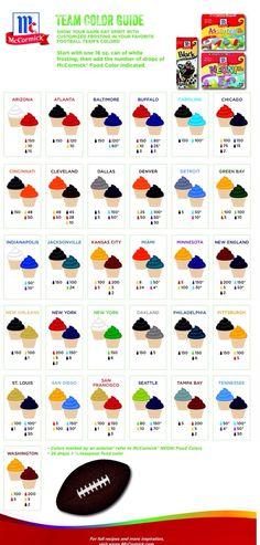 NFL Frosting Color Chart by McCormick ( This makes me chuckle... Need baseball!!)