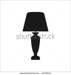 Classical vintage table lamp sign simple icon on  background - stock vector