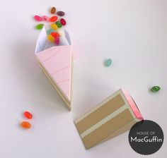 Another photo of the cake slice boxes I've been working on - I think my photography's getting a bit better! These are coming soon to houseofmacguffin.etsy.com! #party favours #cake boxes