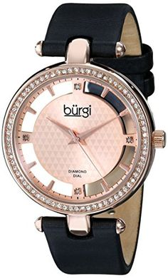 Burgi Women's BUR104RG Rose Gold-tone Diamond and Crystal Black Satin Strap Watch - Jewelry For Her
