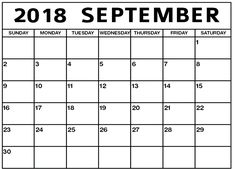 55 Best September 2018 Calendar Template Images Blank Calendar