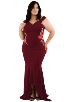 15e66587c706a Wine Plus Size Embroidery Floral Mermaid Maxi Dress. Plus Size Maxi  DressesShort Sleeve ...