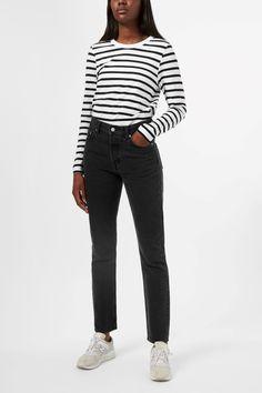 Weekday Kate Striped Long Sleeve in Black