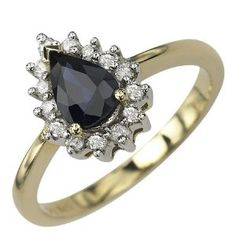 14K Yellow Gold 1cttw Fiery Prong Set Round Shaped White Brilliant Diamond & Pear Shaped Blue Sapphire Gemstone Cocktail Ring