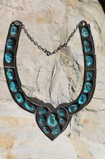 AMAZING NAVAJO STERLING SILVER & TURQUOISE HEART COLLAR NECKLACE FRANK SMILEY