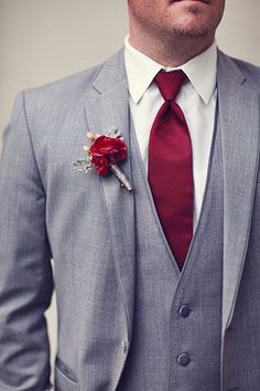 Gray Three Piece Suit with a Burgundy Tie | Lukas & Suzy VanDyke Photography on @artfullywed Women, Men and Kids Outfit Ideas on our website at 7ootd.com #ootd #7ootd
