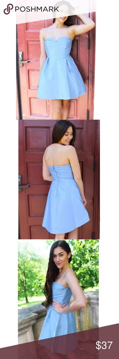 Baby Blue Strapless Dress Trust us when we say, THIS DRESS IS AMAZING. The fit is flattering, and the color is a beautiful shiny blue. Absolutely perfect for a formal event when you don't want to wear a long dress. Dress it up with gorgeous jewelry and heels. You will not be disappointed!  Fit: Regular Small is size 0-4. NWOT. Dresses Strapless