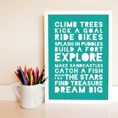 Boys List • Climb Trees • Wall Art • by I Make Jelly