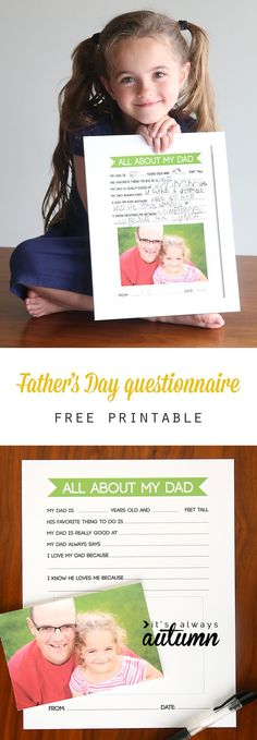 All About My Dad questionnaire for kids.. This turns out so cute! Easy gift kids can make for Father's Day.