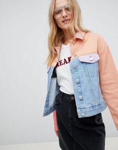 ASOS DESIGN - Veste en jean effet color block