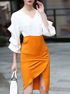 Shop Midi Dresses - White Balloon Sleeve Asymmetric Midi Dress online. Discover unique designers fashion at StyleWe.com.