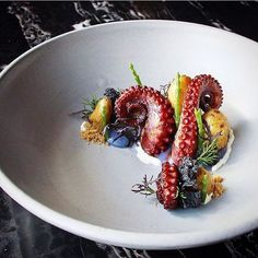 "238 Likes, 3 Comments - Linking the Culinary World (@cookniche) on Instagram: """"The Kraken"" Grilled Octopus, Cabbage, Sea Asparagus, Fingerling, Pine Nut & Creme Fraîche by Chef…"""