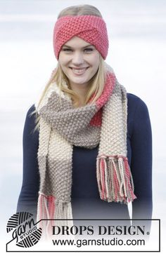 "Eyes On Me - Set consists of: Knitted DROPS head band and scarf in seed st in ""Andes"". - Free pattern by DROPS Design Design stirnband Eyes On Me / DROPS - Free knitting patterns by DROPS Design Knitting Patterns Free, Free Knitting, Free Pattern, Crochet Patterns, Knit Headband Pattern, Knitted Headband, Knitted Hats, Headband Scarf, Crochet Scarves"