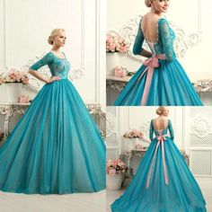 Modest Teal Quinceanera Dresses Square Neck Half Long Sleeves Lace Ball Gowns Sweet 16 Party Dress Evening Formal Dress Gowns with jacket Colored Wedding Gowns, Wedding Gowns With Sleeves, Lace Ball Gowns, Gown Wedding, Wedding Dresses, Bridesmaid Gowns, Teal Quinceanera Dresses, Evening Dresses, Prom Dresses