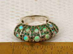 OPAL AND EMERALD VINTAGE RING
