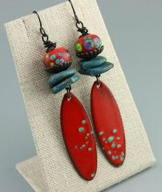 Rustic Earrings Boho Earrings Enameled Charms Gypsy Earrings Hippie Earrings Red Earrings by ChrisKaitlynJewelry - Handmade Jewelry - Etsy Jewelry - Artisan Jewellery Red Earrings, Beaded Earrings, Earrings Handmade, Beaded Jewelry, Handmade Jewelry, Jewelry Show, Jewelry Design, Jewelry Making, Leather Jewelry