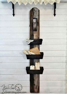 Repurposed Antique Barn Pulley and Bread Tins Wall Bins via Knick of Time. This would work with the set of 3 pans that I have. Old Garden Tools, Old Tools, Gardening Tools, Garden Art, Vintage Farmhouse, Farmhouse Decor, Farmhouse Design, Vintage Kitchen, Tin Walls