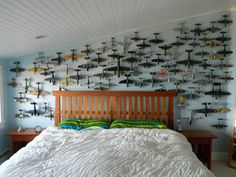 Hanging model planes on wall