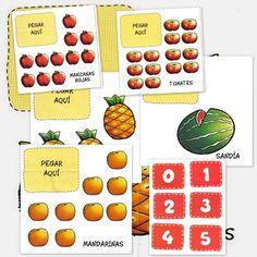 Fichas de matemáticas para educación infantil. Aprovecha estas fichas de frutas para contar. Recorta los números y pegarlos en las fichas que corresponda.