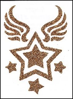 "This is a glitter Temporary tattoo of a golden shooting star. It measures approx 3 1/4"" long x 2 1/4"" wide. 