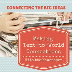 A family reading activity to help kids make text-to-world connections with the newspaper. 2nd Grade Reading, Kids Reading, Teaching Reading, Guided Reading, Reciprocal Reading, Comprehension Strategies, Reading Strategies, Reading Skills, Reading Comprehension