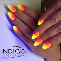 by Ania Leśniewska - Find more inspiration at www.indigo-nails.com #nailart #nails #indigo #ombre #neon