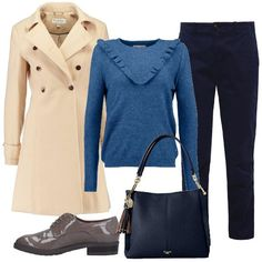 L'outfit+è+composto+da+un+cappotto+classico+a+doppio+petto,+un+maglione+celeste+con+rouches+sul+davanti+ed+un+paio+di+pantaloni+chino+blu+scuro.+Completano+il+look+una+borsa+a+spalla+da+donna+con+nappa+decorativa+ed+un+paio+di+stringate+Osvaldo+Rossi.