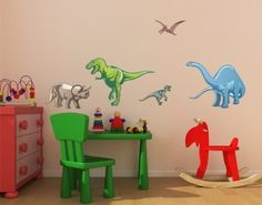 Colorful Dino Set wall decal, wall sticker, wall tattoo. styleandapply.com