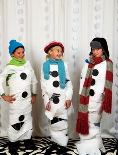 Kids Game: Make a Snowman using toilet paper.