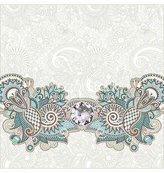 Ornate floral background with diamond jewel vector by kara-kotsya on VectorStock®